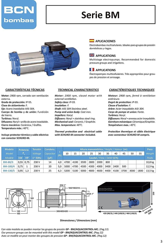 Bomba de água para habitação doméstica e irrigações por aspersão eléctrica GP-BM 83/AQUA 5